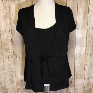 Blouse Black Silky front Tie w/ Built in Shirt 1X